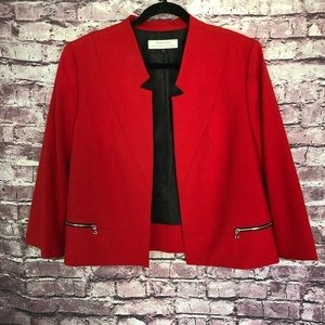 Tahari ASL red cropped blazer zippered accent